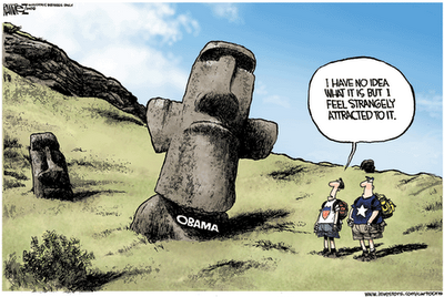 Easter Island Obama cartoon